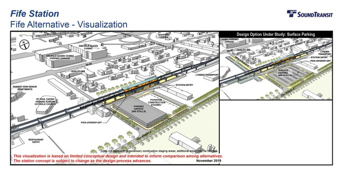 Renderings of the conceptual station layout options for the Fife Station. (Sound Transit)