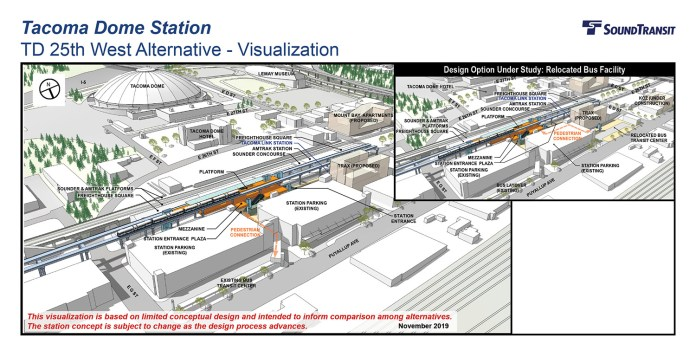 Renderings of the conceptual station layout options for the Tacoma Dome Station TD 25th West Alternative. (Sound Transit)
