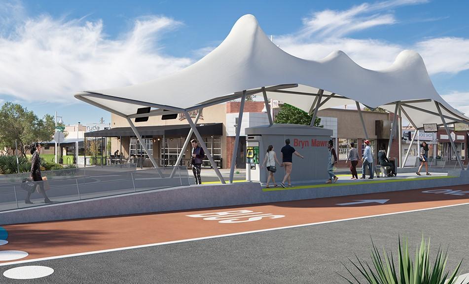 Albuquerque Rapid Transit, a center-running BRT - the gold standard to which Aurora should aspire (Credit: Albuquerque Rapid Transit, http://www.brtabq.com/)