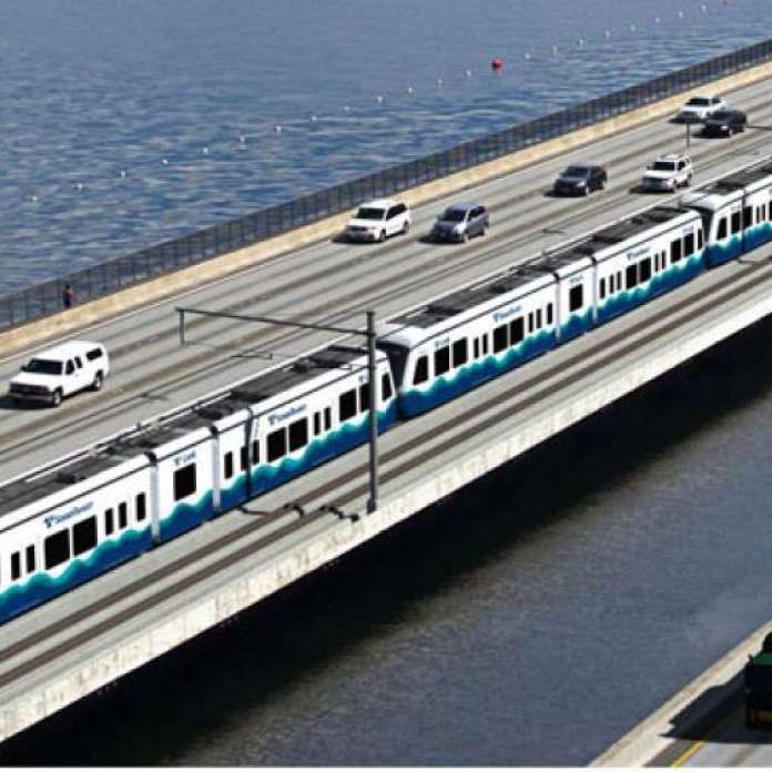 East Link runs on the I-90 floating bridge on special tracks to adjust for rocking motion. (Sound Transit)