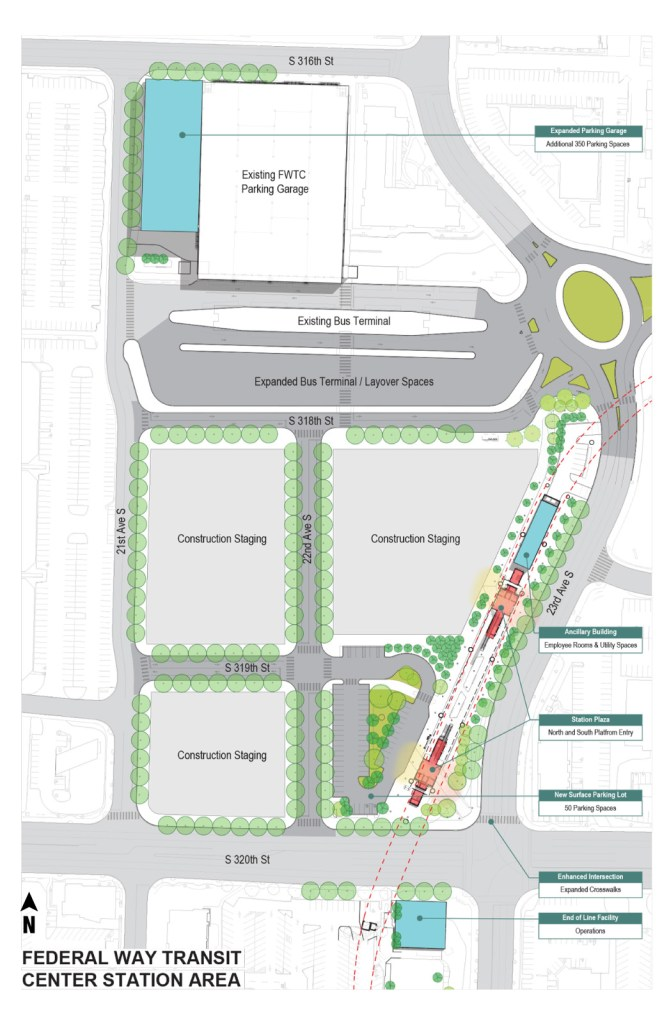 Current site plan for the Federal Way station. (Sound Transit)