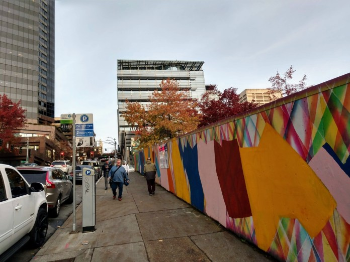 Seattle City Hall and the colorful fence for Civic Square pit. (Photo by author)