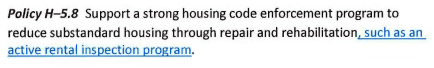 Excerpts of Tacoma's other new and revised housing policies in the updated Comprehensive Plan. (City of Tacoma)