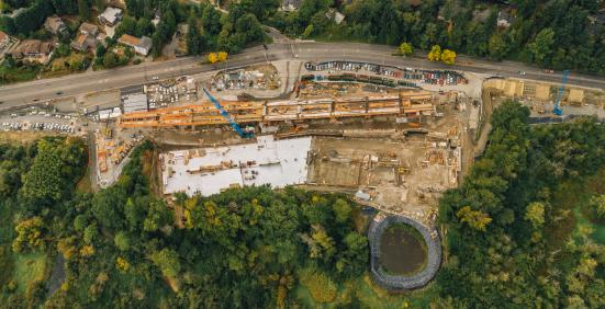 An aerial shot of South Bellevue Station shows it's surrounded by woods and the Mercer Slough. (Sound Transit)