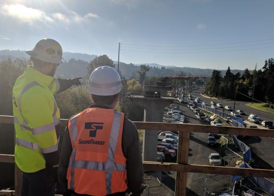 "From November 2018: ""Looking south from the platform at the South Bellevue Station. Note the columns where the train guideway will rise above traffic on Bellevue Way Southeast."" (Sound Transit)"