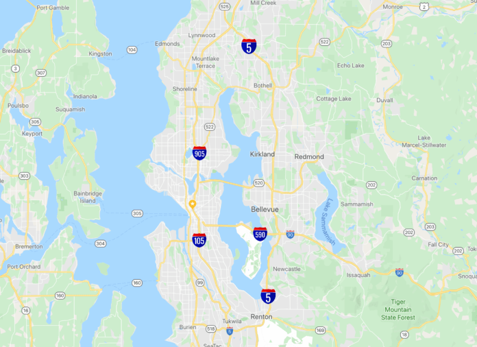 A revised naming scheme for Seattle's urban highways. Interstate 5 should be outside of the city, with spurs (I-105, I-590, and I-905) coming into the city. This would permit a reimagining of the roads in the city. (Google Maps with revisions by Ray Dubicki)