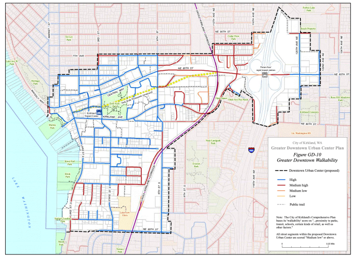 Current walkability of the city center block by block. (City of Kirkland)