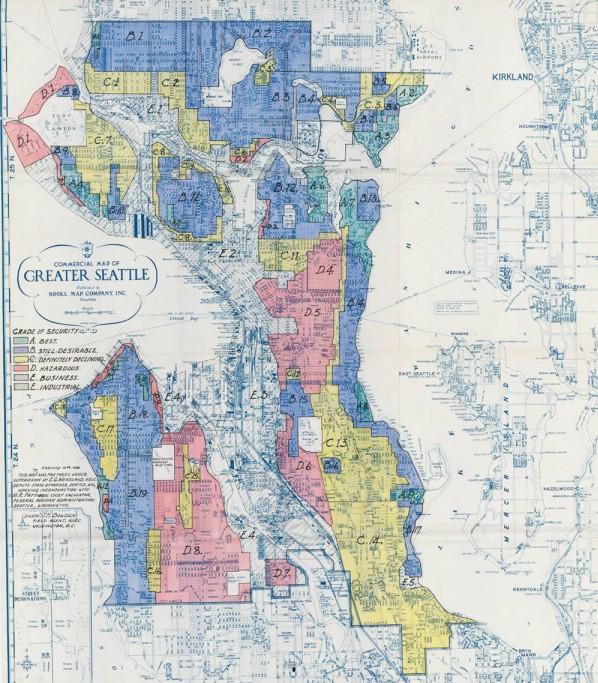 This redlining map from 1936 concentrated communities of color in red and yellow areas while denying them access to loans for homes and business. This was before what is now D5 was annexed into Seattle. (Map by Knoll Company)