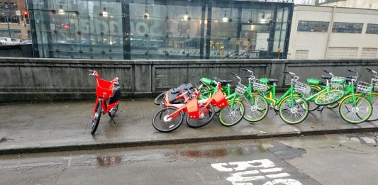 A bikeshare pile up where bikes accumulated outside the Sounder Station in Pioneer Square. (Photo by Doug Trumm)
