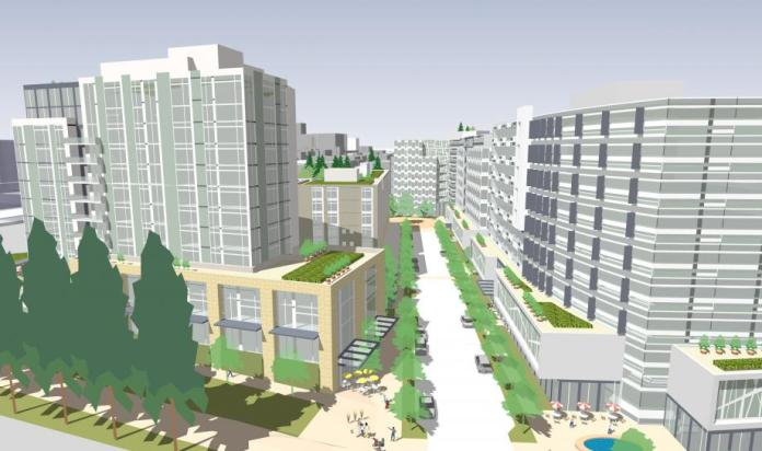 Rendering of possible buildings on the TOD site as seen from 120th Ave NE. (Sound Transit)
