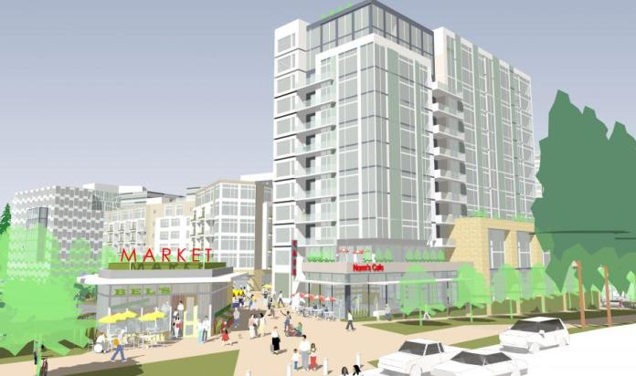 Rendering of possible buildings and public space on the TOD site as seen within the site. (Sound Transit)