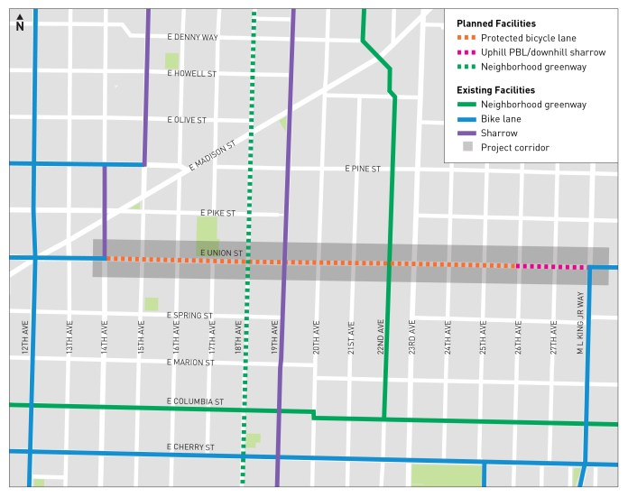 Updated map showing a complete connection between 14th and 26th Ave on E Union St, with a full connection from MLK Jr Way for westbound riders (City of Seattle)