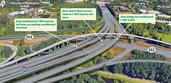 WSDOT's concept for the SR-522/I-405 direct access ramp for the ETLs and revised interchange hopes to untangle the spaghetti interchange for users. (WSDOT)