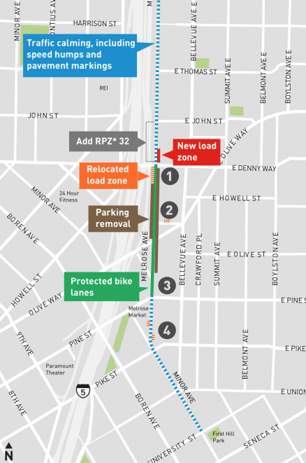 Map showing improvements coming to Melrose Avenue with protected bike lanes between Pine St and Denny Way (SDOT)