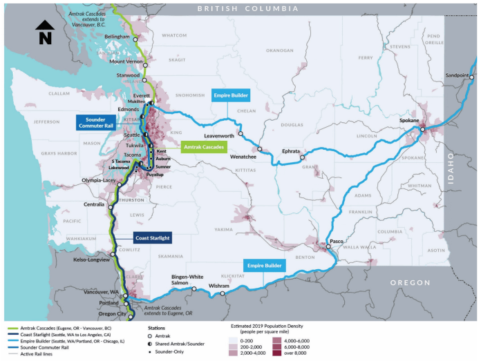 Map of the passenger rail system in Washington State highlighting the southern and northern fork of the Empire Builder--Amtrak's route to Chicago. (WSDOT)