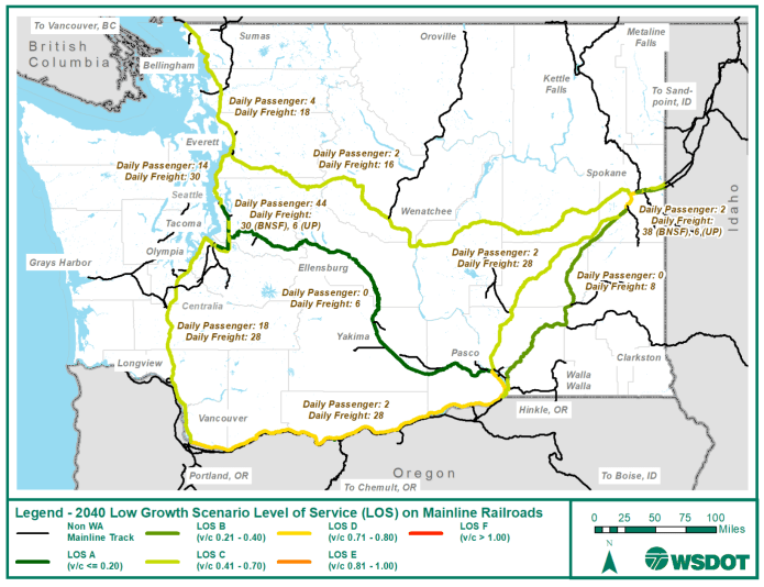 A map of the 2040 low-growth scenario LOS on mainline railways in Washington. (WSDOT)