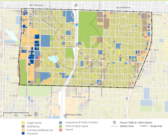 The 130th and 145th Street station areas are dominated by single family zoning and parks. (OPCD)