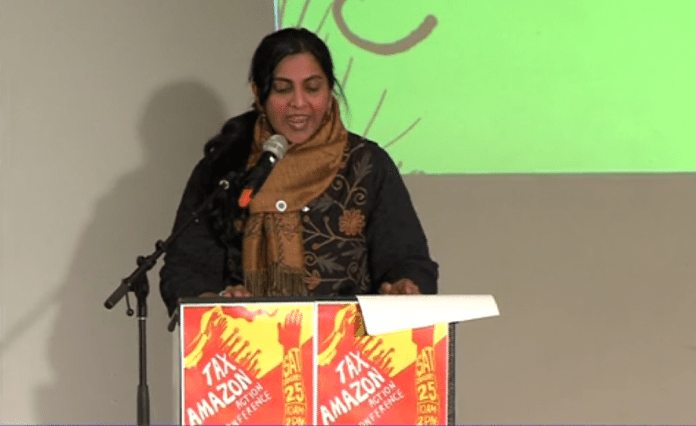 Councilmember Sawant fired up the crowd during her Tax Amazon speech at Washington Hall. (Seattle Channel)