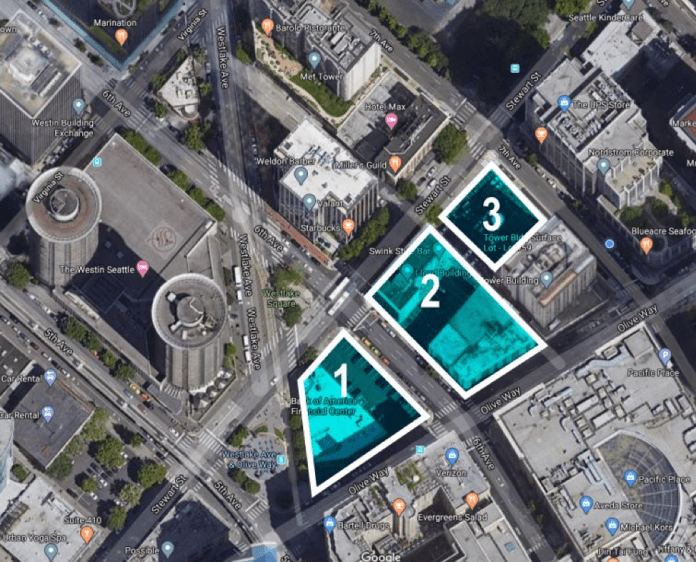 These three parcels will house 800 or more residential units, 900,000 square feet of office space, and 24,000 square feet of food and beverage retail. The mixture of uses will generate over 7,500 users in and around the streetcar stop on Westlake. (Google Maps, edited by the Author)