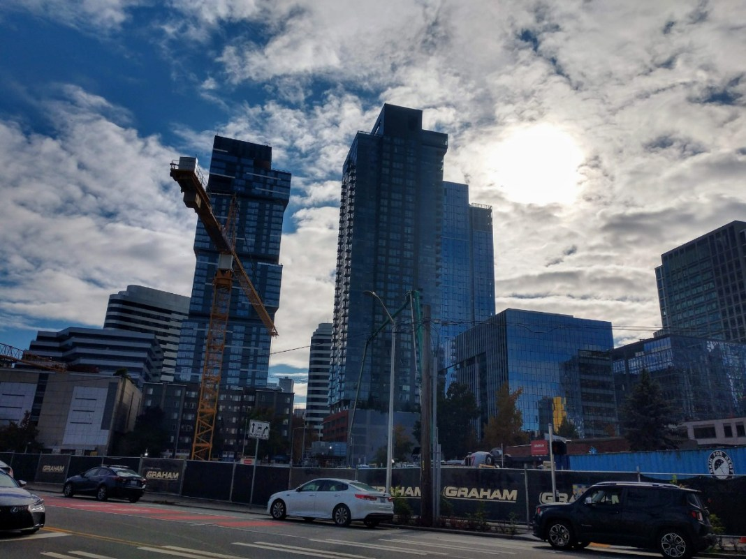 Denny Triangle is sprouting residential towers. (Photo by Doug Trumm)