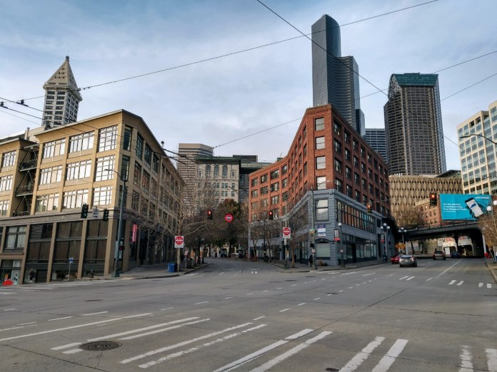 Downtown Seattle from 4th and Washington. (Photo by Doug Trumm)