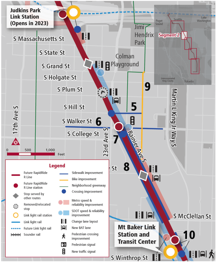 The Mount Baker segment gets a section of northbound BAT lanes. (King County Metro)