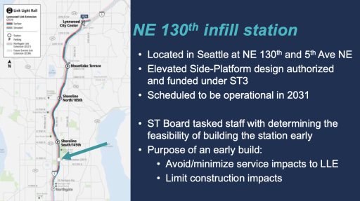 The infill station would between Northgate Station and Shoreline South Station. (Sound Transit)
