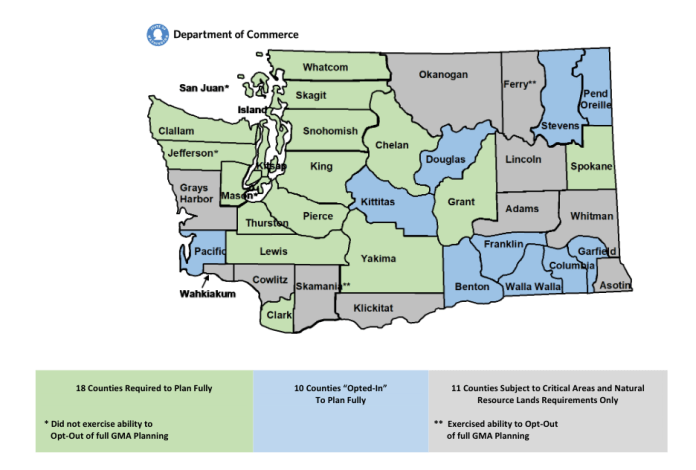 A map showing GMA requirements by county across Washington State. (Credit: WA State Dept. of Commerce)
