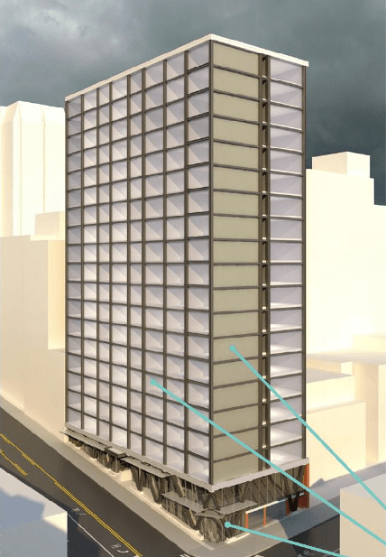 This 21-story 901 Madison St prefab project is planned to rise in First Hill. (Collins Woerman / SLI)