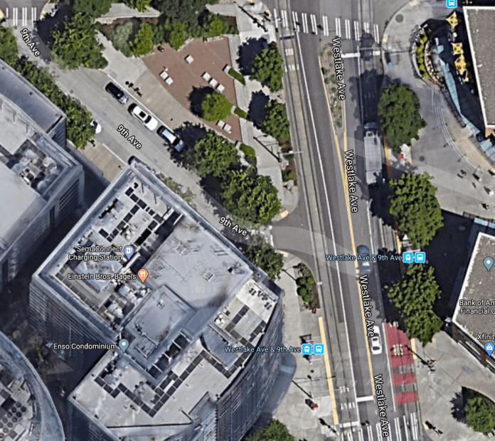 The current Seattle streetcar stop on Westlake on the south side of 9th Avenue will be expanded across 9th to provide more space. (Google Maps)
