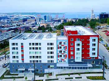 Hoa Mai Gardens, a dense SHA housing development in Yesler Terrace, which also contains space for nonprofits like  youth writing organization the Bureau of Fearless Ideas. (Credit: SHA)
