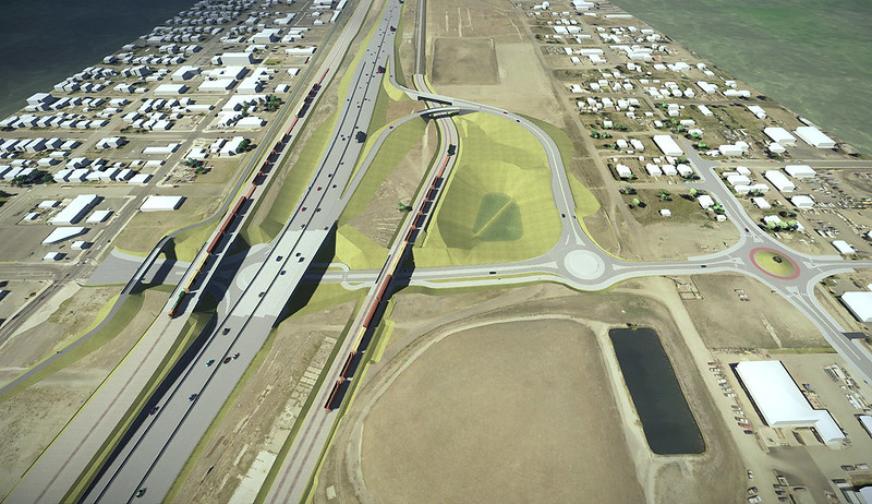 Rendering of I-395 interchange with pond. (WSDOT)