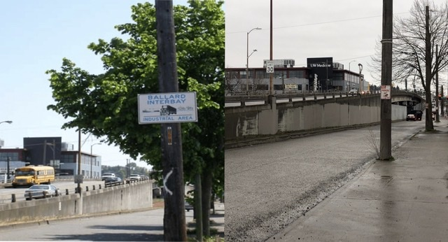 "Two images of intersection near Ballard bridge. 2002 image includes a sign saying ""Ballard Interbay Industrial Area."" Contemporary right image does not."