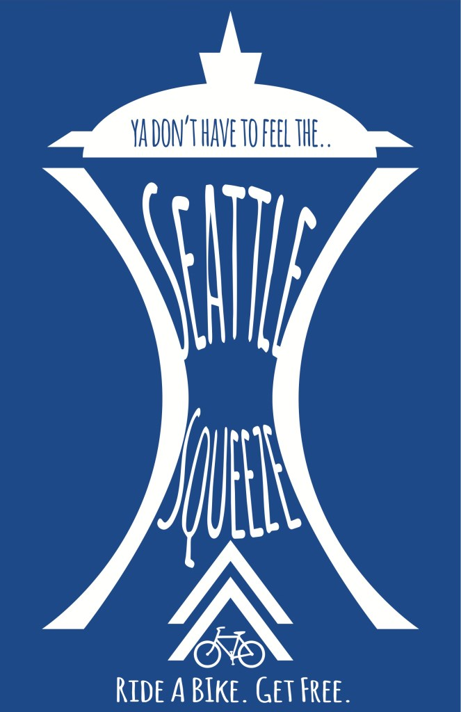 """Seattle Squeeze graphic using Space Needle outline to squeeze the words """"Seattle Squeeze."""" (Credit: Reed Olson)"""