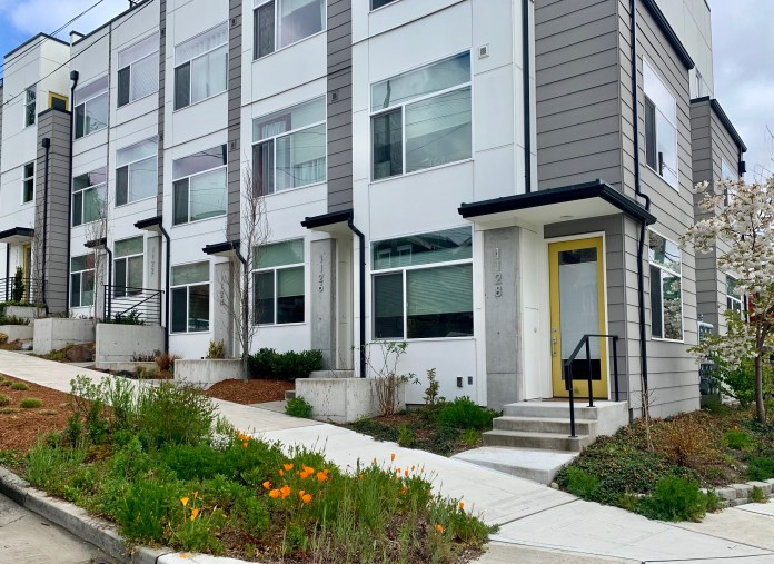 Contemporary rowhouse style townhomes. (Photo by author)