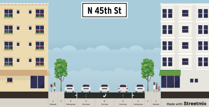 Existing N 45th St section.
