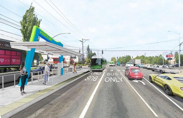Daytime rendering of the mountain option. (Pierce Transit)