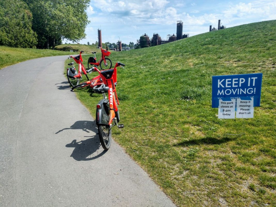 JUMP bikes became unrentable on Friday even there still littered about such as here at Gas Works. (Photo by author)