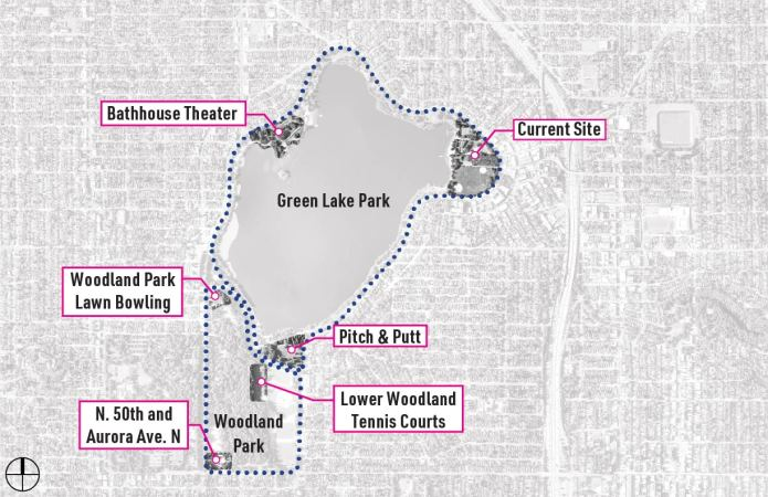 The six sites under consideration in the survey. (Seattle Parks)