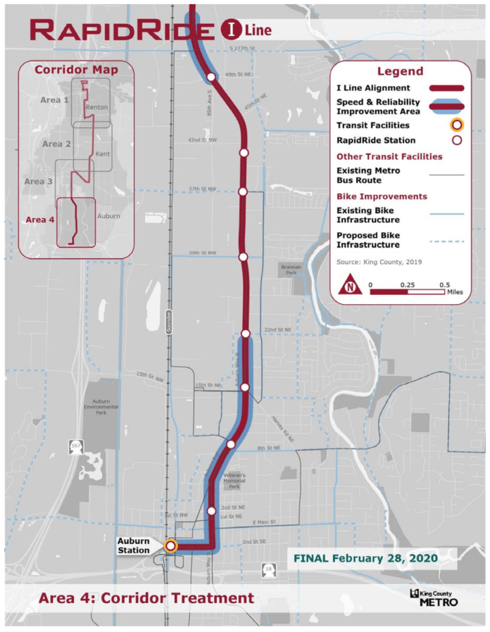 Area 4 of the RapidRide I Line corridor with proposed alignment, stops, and improvements. (King County)