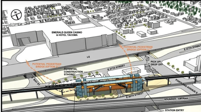 An 2019 rendering shows Portland Avenue station in Tacoma. (Sound Transit)