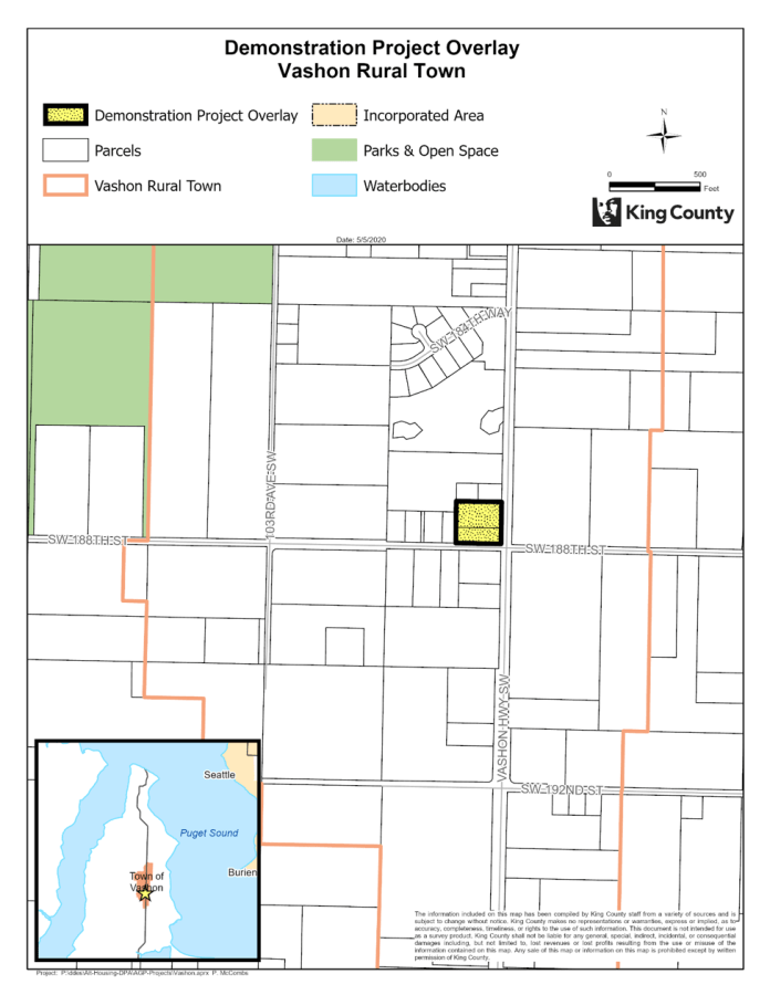 The zoning overlay in Vashon where a demonstration project could be realized. (King County)