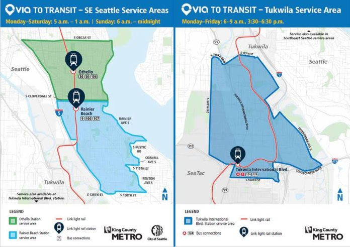 The Via to Transit service areas and operational times. (Credit: King County Metro)