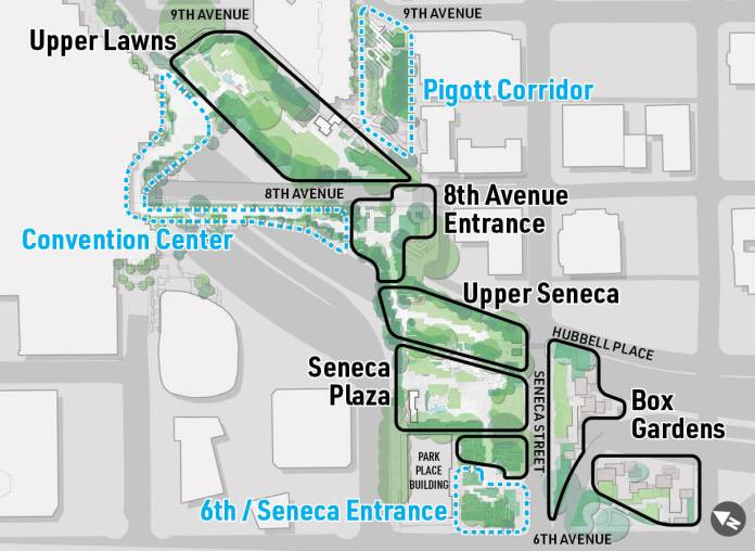 Park areas traced in black will be prioritized. Note that areas bordered by blue are owned by other parties and will see limited improvement. (City of Seattle)