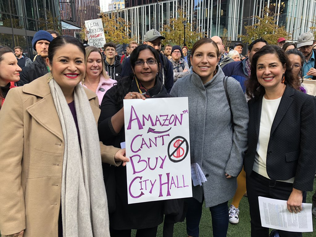Councilmember Teresa Mosqueda with colleagues Tammy Morales to right and Lorena Gonzalez and Kshama Sawant to left during election rally at Amazon Spheres. (Credit: Teresa Mosqueda)