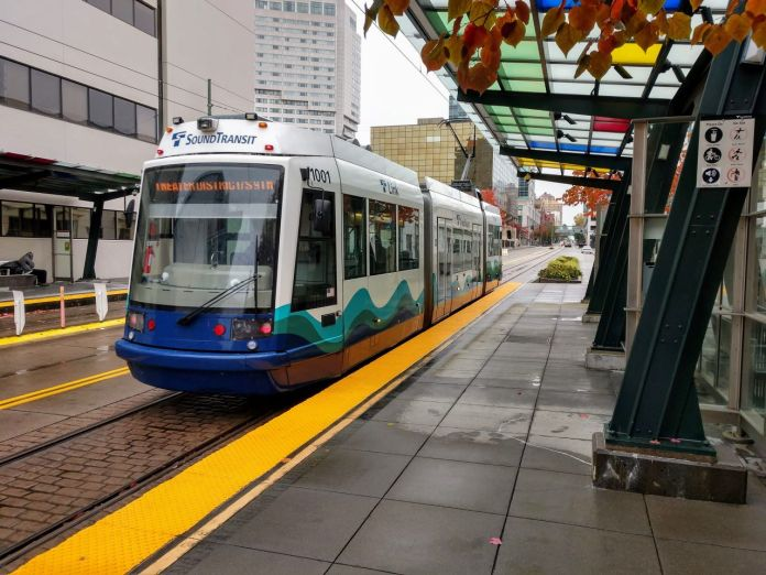 Sound Transit's streetcar in Downtown Tacoma. Work on Tacoma's Hilltop streetcar extension continues, but further extensions are shelved until Sound Transit grapples with Covid-related budget impacts. (Doug Trumm)