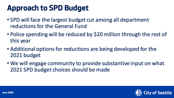 The Mayor characterized her approach to SPD budget as the largest cut among all department reductions for the General Fund, which is misleading since SDOT faced a larger cut.