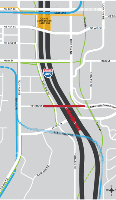 Option 5: express toll lane access to/from south at SE 6th Street. (City of Bellevue)