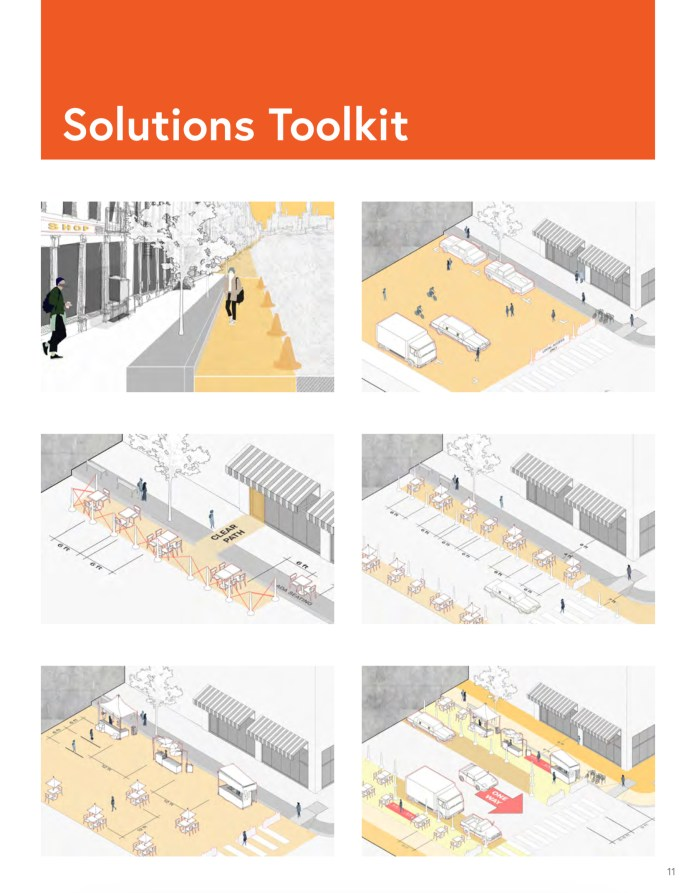 Public Health's toolkit for healthy streets with adequate social distancing. Some of these have only recently become available in Seattle. (Public Health -- Seattle and King County)
