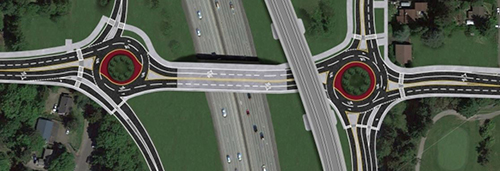 Conceptual design for the new NE 145th St roundabouts. (City of Shoreline)